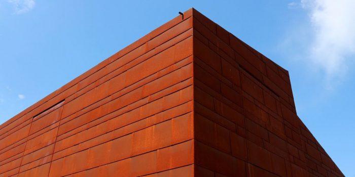 Rusted corten steel facade,  detail of a modern house.