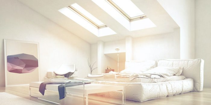 Close up Architectural Bedroom with Glass Table and White Furniture Illuminated with Sunlight from Glass Ceiling.