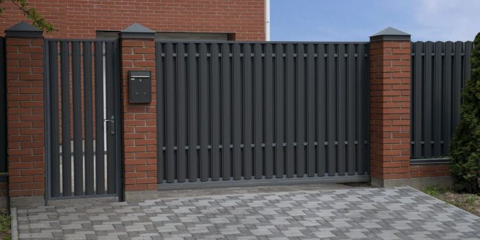 automatic sliding metal gate with metal grey picket